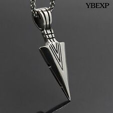 """24"""" Men's Silver Gold Stainless Steel Sword Pendant Chain Necklace Good Gift"""