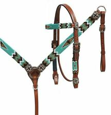 Showman TEAL GOLD & BLACK Beaded Headstall & Breast Collar Set! NEW HORSE TACK!