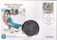 Numisbrief Deutschland Olympia Albertville 1992 170 Pfg Briefmarke Stempel Bonn