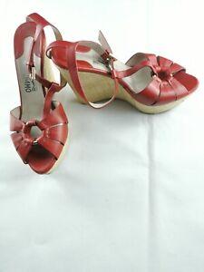 Salvatore Ferragamo women's red peep toe  leather wedges size 8C