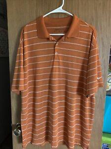 Mens Nike Dri Fit Golf Polo Striped Orange/White Size  XL EUC