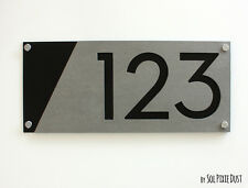 Modern House Numbers, Concrete & Black Acrylic - Sign Plaque - Home Address