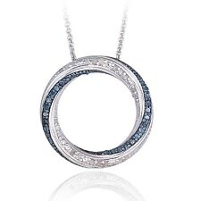 0.50ct TDW Blue & White Diamond Circle Necklace