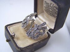 DELIGHTFUL VINTAGE SOLID 925 STERLING SILVER MARCASITE SCREW BACK EARRINGS RARE