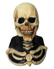 Deluxe Skull Mask Halloween Fancy Dress Costume Skeleton Full Head & Chest Latex