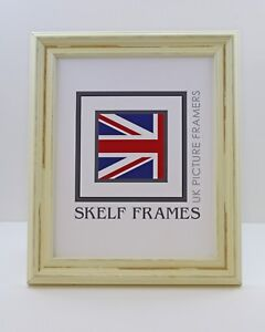 A4 ~ DISTRESSED OFF-WHITE WOOD PICTURE PHOTO CERTIFICATE FRAME WITH GLASS