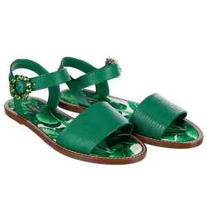 Dolce & Gabbana Flat Leather Slide Sandals Fino With Buckle Green 07834