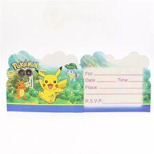 Pokemon Go Pikachu Charmander Birthday Party Invitations 10 pieces Kids New!
