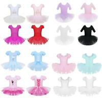 Kid Girl Ballet Dance Mesh Dress Ballerina Leotard Gym Tutu Skirt Fancy Costume