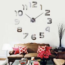 Wanduhr Uhr 3D Wandtattoo Deko Design Spiegel Edelstahl Wand Uhr Groß XXL XL