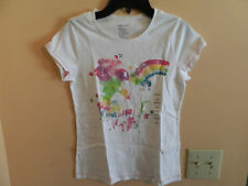 NWT Gap Kids girl short sleeve white t-shirt w/rainbow paint splatters; size XL
