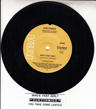 "EURYTHMICS  Who's That Girl?  7"" 45 rpm vinyl record + juke box title strip"