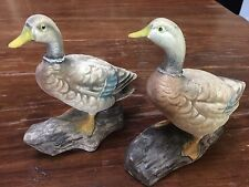 Pair Of Vintage Enesco Mallard Ducks # E3819 With Original Stickers Japan Fine