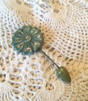 Vintage Art Deco Celluloid Early Plastic Rhinestone Stick/Hat Pin Brooch Green