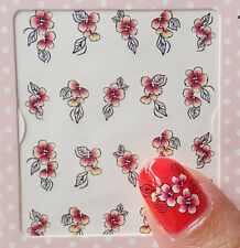 Red 2 Colours One Stroke Flowers Water Transfer Nail Art Stickers Decals Polish