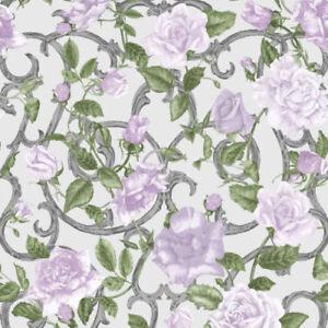 Muriva Rose Trellis Purple Designer Luxury Wallpaper 135503-B