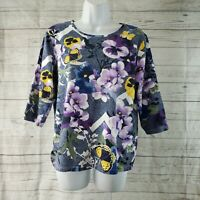 Christopher Banks Womens Top Sz Petite Large Purple Blue Floral 3/4 Sleeve
