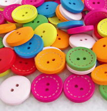 100pcs Mixed Colors Round Wood Button 2 holes Craft Sewing Scrapbooking Hnk257