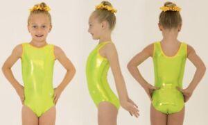 Shiny Lime Green Size 24 Leotard Gymnastics Age 3-4