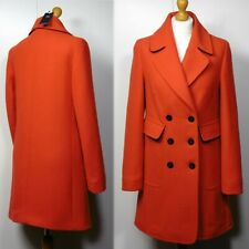 M&S Wool Blend TAILORED Double Breasted PEA COAT ~ Size 18 ~ ORANGE (rrp £99)