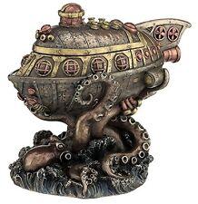 """9"""" Steampunk Submarine vs. Octopus Trinket Box Statue Figurine Sculpture Gothic"""