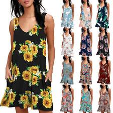 US Women Floral Tank Loose Pockets Swing Mini Dress Sleeveless Casual Sundress