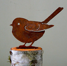 Fat Chickadee Bird Rusty Metal Silhouette Accent for Inside or Out, Porch, Fence