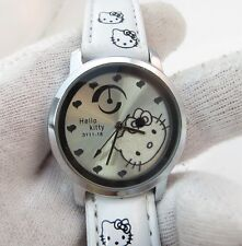 HELLO KITTY,Chrome w/White Band KIDS/LADIES WATCH,New In Box!! R16-16,L@@K!