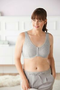 Amoena Fleur Wire Free Front Opening Mastectomy/Leisure Bra Grey Melange 44695