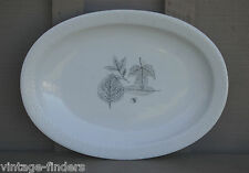 """Vtg Rosenthal Continental 14"""" Oval Serving Platter Shadow Leaf Pattern Germany"""