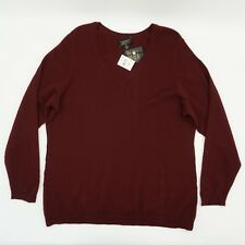 Charter Club Women Top 100% Cashmere Pullover V Neck Sweater Dk Red Plus 2X $159