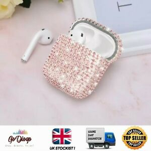 Pink Sparkly Diamante Glitter Effect case For Apple Airpod 1/2 - UK STOCKIST
