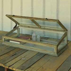 Wood Glass Tabletop Display Case Rustic