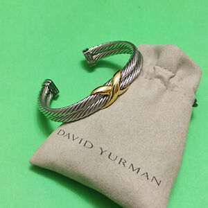 "David Yurman Sterling Silver and 14k Yellow Gold ""X"" Double Cable Bracelet"