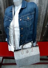 TORY BURCH Convertible GRAY Felted WOOL TOTE CROSS BODY SILVER Leather EUC! $395