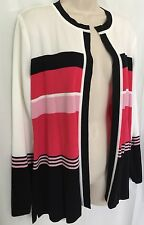 EXCLUSIVELY MISOOK M Cardigan Sweater White Black Pink Stripe Open Top