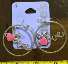 Claires Claire's Earrings Silver Pink Love Heart Hoops 41mm Jewellery RRP £4