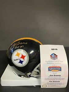 Joe Greene Autographed Pittsburgh Steelers Mini Helmet Mounted Memories COA