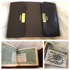 Vintage Brown Cowhide Money Clip Wallet ID Holder + Novelty IDs Press Morocco