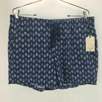 St. Johns Bay Womens Shorts Blue Floral Pockets Elastic Waist Drawstring L New