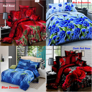 4PCS Full Queen Size Rose Printed Quilt Duvet Cover Sheet Bedding Set Bed Sheet