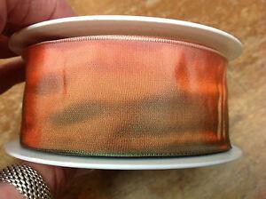"Vintage Ribbon Acetate 5/8-7/8-1.5"" Tuscan Sunset Orange Moss 1yd Made in France"