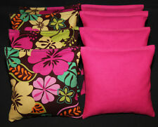 Island Flowers Pink LUAU Party Cornhole Bean Bags  ACA Regualtion Corntoss Bags