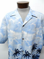 RJC HAWAII MADE IN USA HAWAIIAN CAMP SHIRT sz 2XL mens palm blue casual S/S^3662