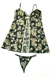 Victoria's Secret Size S Black 2 Piece Lingerie Sleepwear Set Gold Floral Print