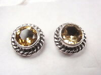 Faceted Citrine with Rope Style Accents 925 Sterling Silver Stud Earrings