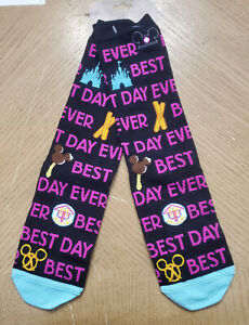 Disney Parks Pair of Long Socks Best Day Ever WDW  Snack Food Icons Size 5-9