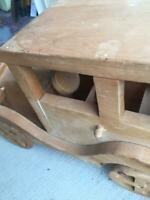VINTAGE HANDMADE WOODEN CAR AND WAGON