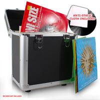 "LP 80 x 12"" Vinyl Record Box Storage Flight DJ Case BLACK with Anti-Static Cloth"