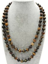 Tiger's Eye Round Beads Gemstone Necklace 36 Inches 8mm Real Yellow Blue